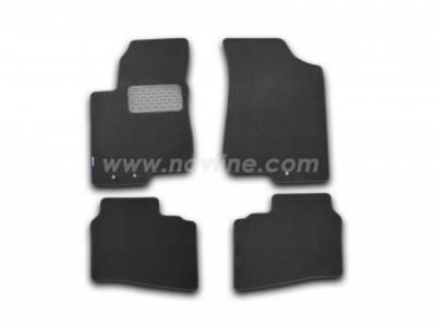Коврики в салон (Novline) для Hyundai Elantra sedan 2006-2011, 4 шт. (текстиль, чёрные, серые, бежевые)