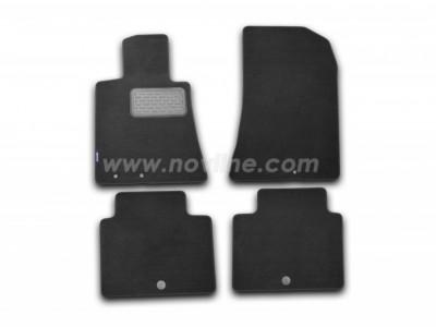 Коврики в салон (Novline) для Hyundai Genesis sedan 2008-2013, 4 шт. (текстиль, чёрные, серые, бежевые)