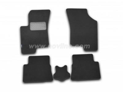 Коврики в салон (Novline) для Hyundai Gets hb 2002-2011, 5 шт. (текстиль, чёрные, серые, бежевые)