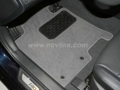 Коврики в салон (Novline) для Hyundai i40 sedan 2011-н.в., 5 шт. (текстиль, чёрные, серые, бежевые)