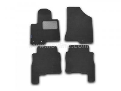 Коврики в салон (Novline) для Hyundai Santa Fe 2009-2012, 4 шт. (текстиль, чёрные, серые, бежевые)