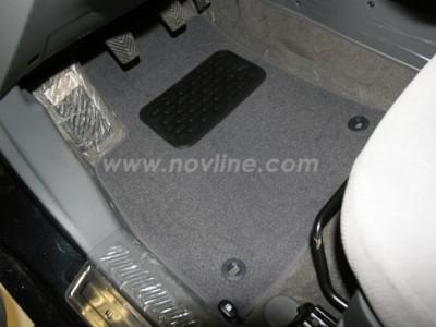 Коврики в салон (Novline) для Hyundai Santa Fe Classic 2001-2006, 4 шт. (текстиль, чёрные, серые)