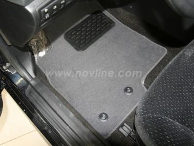 Коврики в салон (Novline) для Hyundai Sonata sedan 2001-2005, 4 шт. (текстиль, чёрные, серые)