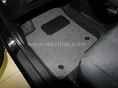Коврики в салон (Novline) для Hyundai Sonata NF 2005-2010, 5 шт. (текстиль, чёрные, серые, бежевые)