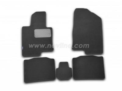 Коврики в салон (Novline) для Hyundai Sonata YF 2010-2014, 5 шт. (текстиль, чёрные, серые, бежевые)