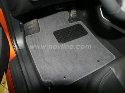Коврики в салон (Novline) для Hyundai Veloster 2011-н.в., 5 шт. (текстиль, чёрные, серые, бежевые)