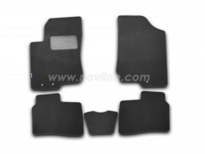 Коврики в салон (Novline) для Kia Cerato sedan 2008-2012,  5 шт. (текстиль, чёрные, серые, бежевые)