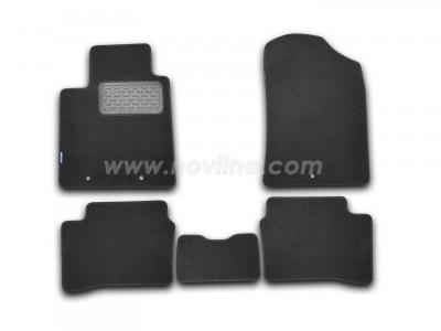 Коврики в салон (Novline) для Kia Picanto 5d hb 2011-н.в., 5 шт. (текстиль, чёрные, серые, бежевые)