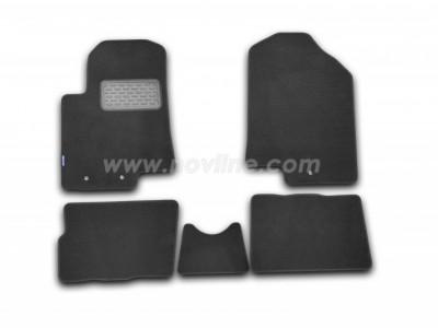 Коврики в салон (Novline) для Kia Soul hb 2008-2013, 5 шт. (текстиль, чёрные, серые, бежевые)