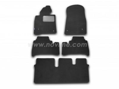Коврики в салон (Novline) для Lexus LX 570 2007-2012, 5 шт. (текстиль, чёрные, серые, бежевые)