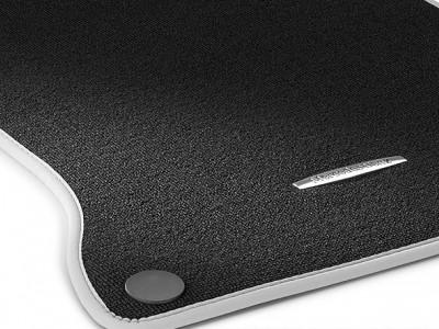 Коврики салона велюровые черные, окантовка цвет Серый кристалл для Мерседес A class W176 2012-н.в., B class W246 2011-2014, CLA class C117 X117 2013-н.в., GLA class X156 2014-н.в., 4 шт.