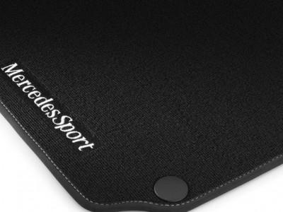 Коврики салона велюровые черные, окантовка серого цвета для Мерседес C class W204 2007-2014, 4 шт.