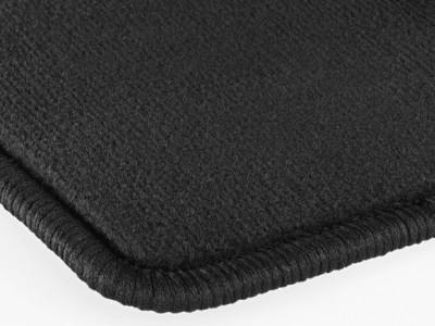 Коврики салона велюровые черные окантовка кожа нубук для Мерседес CLS class C219 2004-2011, E class W211 2002-2009, 4 шт.