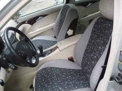 Оригинальные модельные чехлы на сидения для автомобиля Mercedes E-Klasse (W210) седан/ универсал 1995-1999 (материал: твид, кожзам; любые тона)