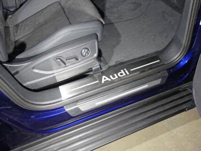Накладки на пластиковые пороги защитные из нержавеющей стали в ассортименте для Audi Q5 2016-н.в., (TCC)