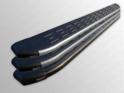 Пороги алюминиевые с пластиковой накладкой (карбон серебро, чёрный карбон, серый карбон) для Lexus NX, 2014-н.в., (ТСС)