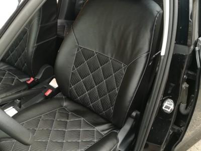 Оригинальные модельные чехлы на сидения для автомобиля Scoda Rapid 2012-2017, (материал: твид, кожзам; любые тона)