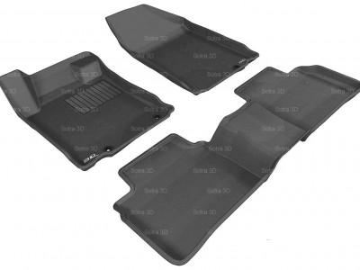 Коврики салона 3D VIP Sotra для Nissan Teana III 2014-н.в., 2 ряда 3 части, чёрный и бежевый цвет