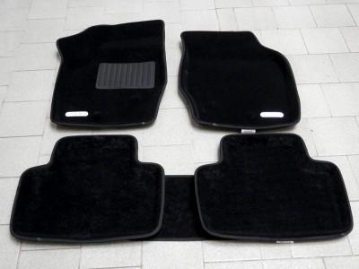 Коврики салона 3D VIP Sotra для Volvo XC90 2002-2014, 2 ряда 5 частей, чёрный и бежевый цвет