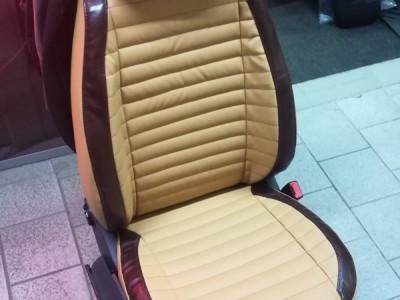Оригинальные модельные чехлы на сидения для автомобиля VW Polo hb 2001-2009, (материал: твид, кожзам; любые тона)